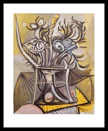 Germanposters Pablo Picasso Vase de Fleurs sur UNE Table Poster Kunstdruck Bild im Alu Rahmen in schwarz 30x36cm