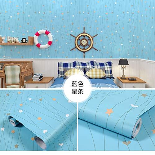 LZYMLA - Papel pintado autoadhesivo de PVC, para dormitorio, sala de estar, habitación de los niños, decoración de gabinete, impermeable, fondo de pared, 60 cm x 10 m, diseño de estrellas azules