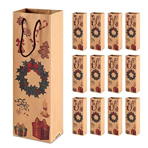 Siumir Navidad Bolsas de Regalo Vino 12 pcs, Bolsas de Regalo para Botella de Vino Bolsa Vino Kraft Regalo Navidad Decoracion