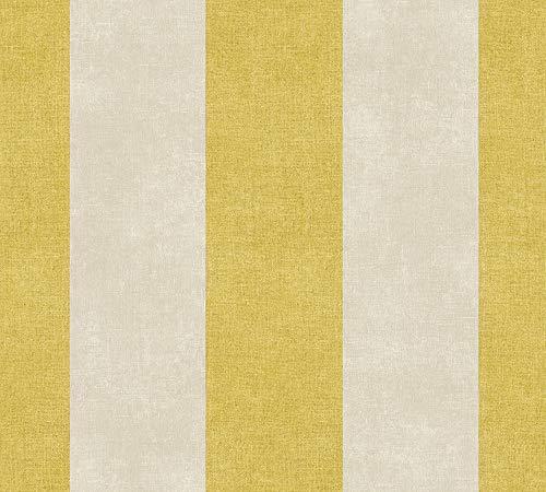 Livingwalls Vliestapete Paradise Garden Tapete mit Blockstreifen 10,05 m x 0,53 m gelb braun Made in Germany 367182 36718-2