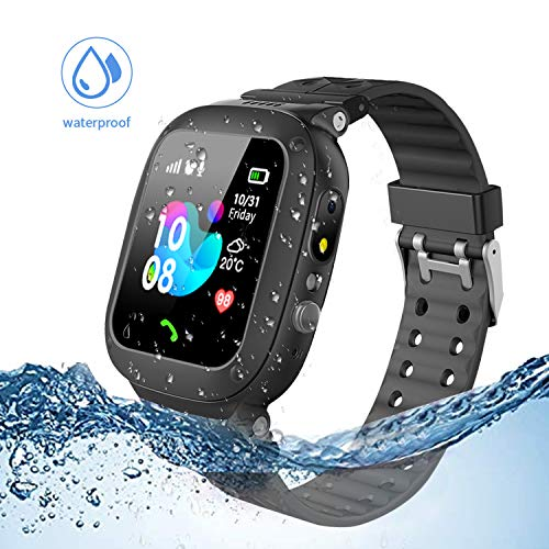 Jsbaby Kids smartwatch Waterproof with LBS/GPS Tracker Smart Watch Phone 3-12 SOS Camera for Boys Girls Game Watches (Black)