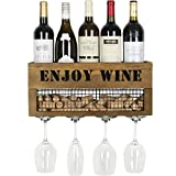 JACKCUBE Design Wall Mounted Metal and Wood Wine Rack Bottle & Glass Holder, Cork Storage Store for Kitchen, Dining Room, Bar, Wine Cellar : MK450A