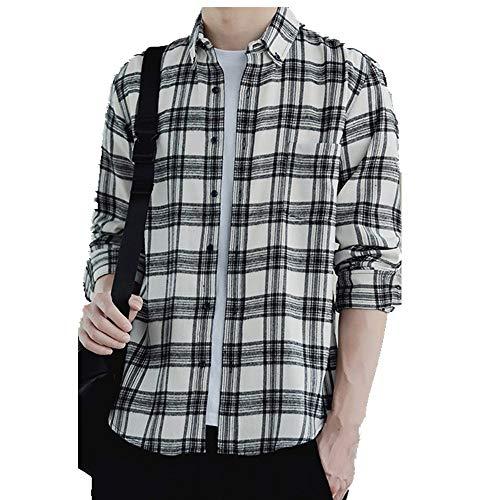 NOBRAND Camisa de manga corta para hombre, de algodón, a cuadros, informal, para hombre