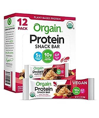 Orgain Organic Plant Based Protein Bar, Chocolate Brownie - Vegan, Gluten Free, Dairy Free, Soy Free, Lactose Free, Kosher, Non-GMO