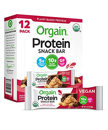 Orgain Organic Plant Based Protein Bar - Vegan, No Gluten, Soy or Dairy, Kosher, Non-GMO, 1.41 Ounce, (Packaging May Vary) Peanut Butter Chocolate Chunk,12 Count