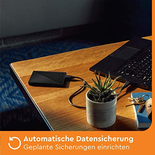 Western Digital WD My Passport externe Festplatte 1 TB (mobiler Speicher, schlankes Design, WD Discovery Software, automatische Backups, Passwortschutz) Schwarz - auch kompatibel mit PC, Xbox und PS4