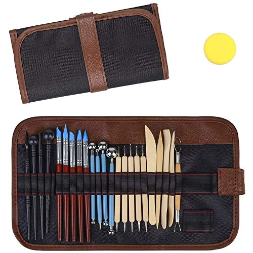 VieVogue Polymer-Ton-Werkzeuge, Keramik-Werkzeuge, Modellierset, Wachs-Werkzeuge zum Formen, Prägen, Modellieren, für Ton, Seife, Modellieren in Schulen und zu Hause, sicher (24 Pcs Werkzeug Set-1)