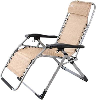 無重力ラウンジチェア付きパティオ折り畳み式の調節可能なリクライニング鋼管構造の椅子、デッキのため、パティオ、ビーチ、庭 (Color : Khaki)