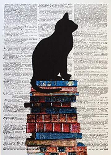 Immagine da parete in formato A3 con disegno di gatto nero con stampa di libri di dizionario vintage