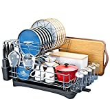 Dish Drying Rack with Drainboard,HOWDIA Stainless Steel Dish Racks for Kitchen Counter,Dish Drainer Rack with Removable Cutlery Holder,Cutting Board Holder and Wine Glass Holder