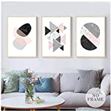 WXHYW Canvas Wall Art Abstract Pink Green Geometric Canvas Painting Poster and Print Wall Art Pictures for Living Room Bedroom Girlsroom Studio Unframed 3 Piece Set 50 * 90Cm