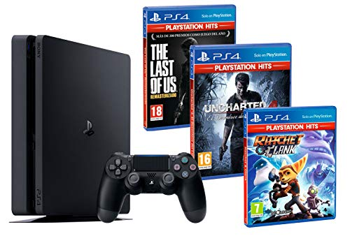 PS4 Slim 1To Console Playstation 4 Noir [HITS Pack] Uncharted 4 + The Last of Us: Remastered + Ratchet & Clank