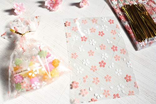 【Fuwari】 桜 サクラ ラッピング袋 100枚 ラッピングタイ付き SET ギフト袋 包装 プレゼント 袋 お菓子 クッキー 小物 入学式 卒業式 お祝い 春 イベント 用 花柄