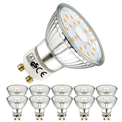 EACLL Bombillas LED GU10 2700K Blanco Cálido 5W 450 Lúmenes Equivalente 50W Halógena Lámpara. 120 ° Luz Blanca Cálida Spotlight LED, 10 Pack