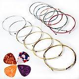 Corde Per Chitarra Acustica, Kinbom 2 set di 6 corde per chitarra, 1 confezione di oro e argento con 1 confezione di colori (regalo: 4 plettri)