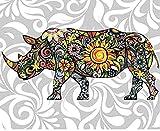 HAO Pintura de Bricolaje por números Animal Rhino acrílico Pintura al óleo Imagen Moderna decoración del hogar para Sala de Estar 40x50cm Sin Marco