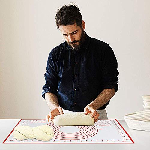 Professionale Grande Silicone Pastry Baking Mat 70x50 cm, Riutilizzabile Ecocompatibile Tappetino Forno Silicone Tappetino Pasticceria Antiaderente Senza BPA Antiscivolo Stuoia Rolling (Vino Rosso)