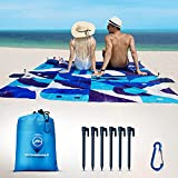 Beach Blanket Sandproof Waterproof - Italian Design - Beach Mat Sand Free Waterproof 79' x 83' with 6 Stakes and Zippered Pockets - Sand Free Beach Blankets for Camping, Picnic, Hiking and Festivals