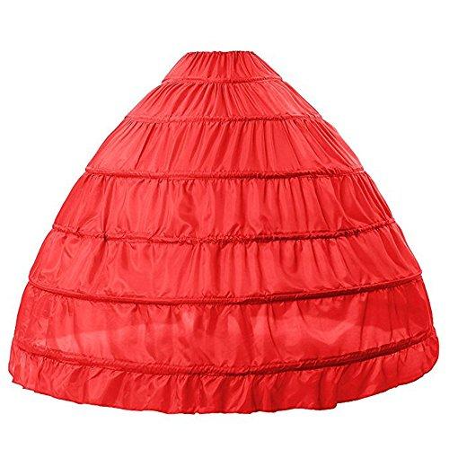 BEAUTELICATE Petticoat Reifrock Unterröcke Damen Lang Fur Brautkleid Hochzeitskleid Vintage Crinoline Underskirt., Rot, Einheitsgröße