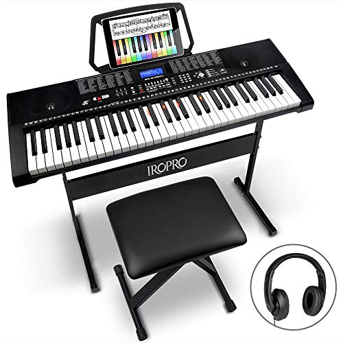 61-Key Portable Electronic Keyboard Piano for Beginners with Lighting...