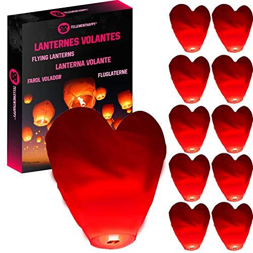 TellementHappy™ Lanterne chinoise Volante Coeur Rouge 100% biodégradable qualité supérieure en papier Le Lampion mesure 90cm*60cm idéal pour vos événements mariage fêtes nouvel an lot de 10