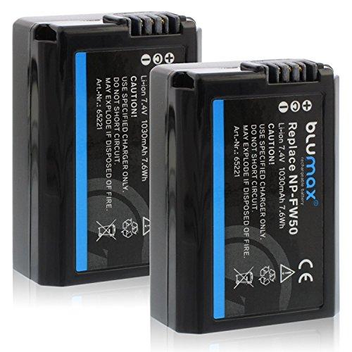 Blumax 2X Akku ersetzt Sony NP-FW50 1030mAh kompatibel mit Alpha ILCE XQ1 Alpha 5000 5100 6000 6300 6500 Alpha 7 7II 7S usw. CyberShot DSC RX10 - NEX-6 NEX-F3 NEX-7 NEX-7B NEX-7C NEX-7K NEX-3