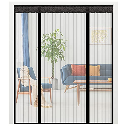 NGreen Double Door Magnetic Screen - Heavy Duty Mesh Curtain with Full Frame Velcro and Powerful Magnets That Snap Shut Automatically for Patio, Sliding, French Door (72x80)