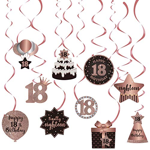 Happy 18th Birthday Party Hanging Swirls Streams Ceiling Decorations, Celebration 18 Foil Hanging Swirls with Cutouts for 18 Years Old Pink and Gold Birthday Party Decorations Supplies