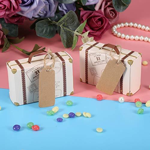 Mini Maleta de Papel Kraft, Caja de Dulces, Mini decoración de cumpleaños para Tema clásico, Tema de jardín para Boda