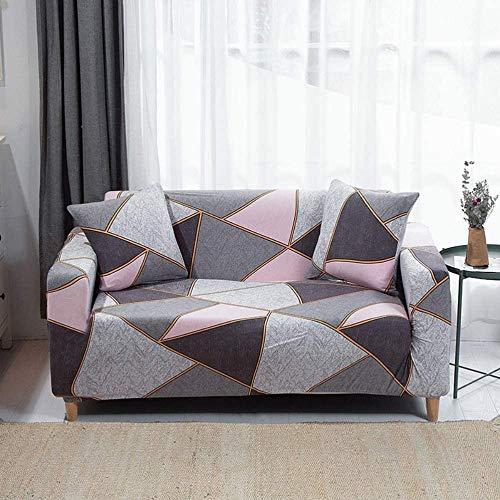 HFTYCC 1-4 Fundas de sofá elásticas de Asiento, Fundas de sofá Estampadas a la Moda Fundas de sofá elásticas Protectoras de sofá-2 plazas_Gray Azul