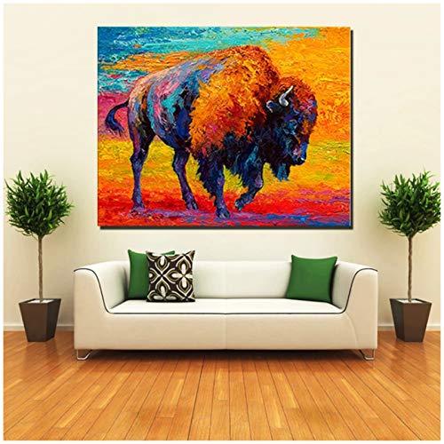 Imprimir animales abstractos coloridos pintura al óleo de toro norteamericano en lienzo decoración de la pared decoración del hogar arte