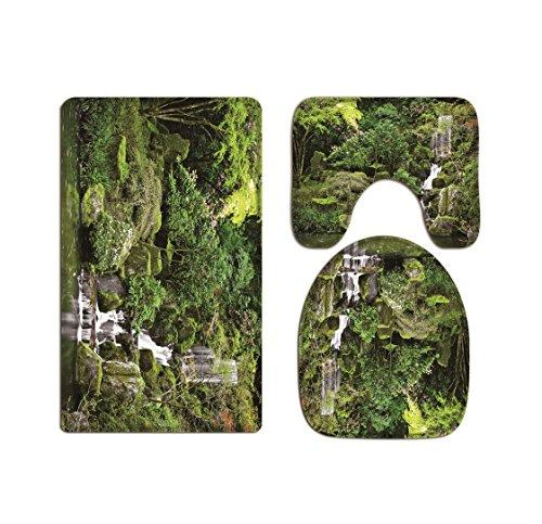 A.Monamour Ensembles De Tapis Vert Arbres Forêt Montagne Roches Pierres Cascade Imprimé Flanelle Tissu Siège De Toilette Couvre Toilette Couvercle Couvre Couvertures Coussins Tapis De Bain