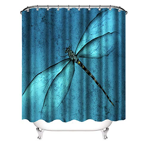 VividHome Watercolor Bug Dragonflies with Colorful Alluring Wings Polyester Fabric Shower Curtain Set Modern Decor Shower Curtain with Hooks 72X72 Inch