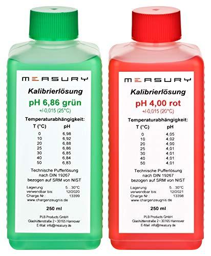 Measury pH Kalibrierlösung 4.00 und 6.86, pH Pufferlösung je 250ml, Eichlösung Rot / Grün, Kalibrierflüssigkeit Set Eichflüssigkeit