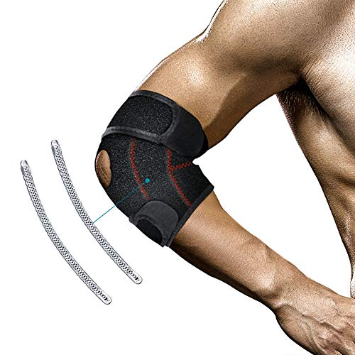 GEEKHOM Ellenbogenbandage, Ellbogen Bandage Tennisarm für Herren & Damen Kraftsport Fitness Verstellbare Atmungsaktive Ellenbogenstütze Ellenbogenstütze mit Klettverschluss (1 Stück)