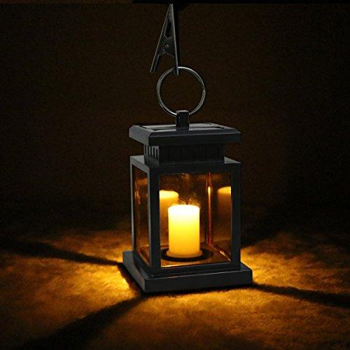Wovatech Linterna solar - Linterna colgante impermeable para exteriores - Luces solares LED Luz de vela para patio, patio, jardín, fiesta