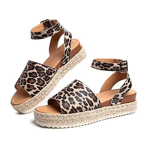 Sandalias Mujer Alpargatas Plataformas Romano Cuña Hebilla Gladiador Zapatos Verano Playa Punta Abierta Tacon 5.6cm Correa de Tobillo 1-Leopardo EU39