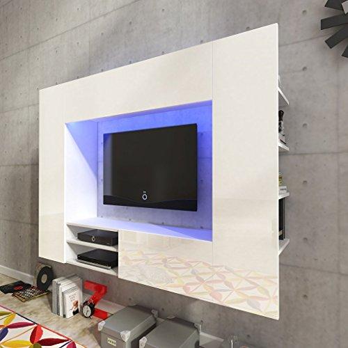 Festnight Mueble de Pared para Televisión Mueble Salón Moderno 169,2 cm con LED Blanco