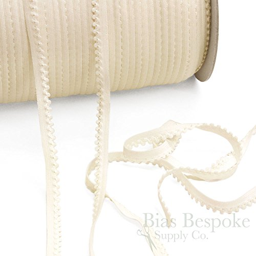 12 Yards of MAE Plush Picot Lingerie Elastic, White, Made in Italy
