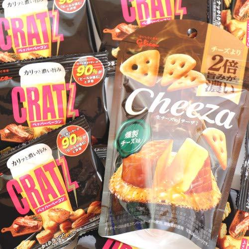グリコ おつまみスナック クラッツミニベーコン8個&生チーズのチーザ燻製1個 セット おかしのマーチ
