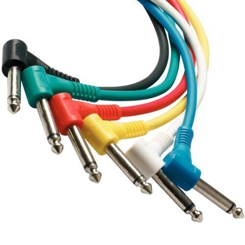 Perfektion Pack of six different colors, 1 foot Guitar - instrument Patch Cables (Right Angle) - Can be used for FX (effects) pedals, Instruments, and More