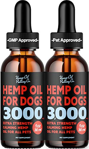 HOP Hemp Oil Pulling Hemp Oil Dogs Cats 3000mg Calming Drops Supplement Sans Cod Oil for Dogs Separation Anxiety Relief Joint Pain Relief Natural Sleep Aid Stress Relief - 2Pack