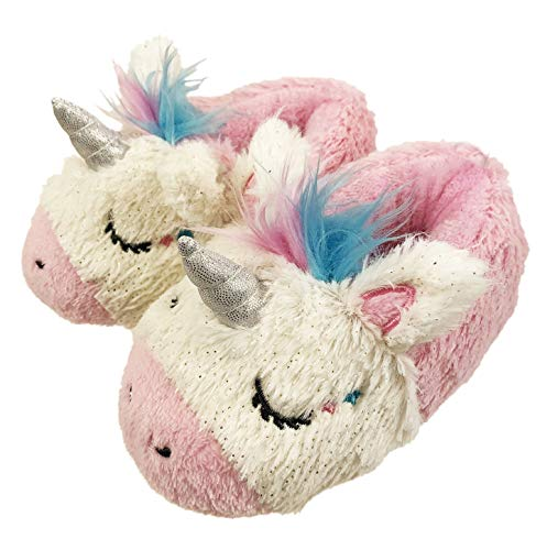FREE 2 DREAM Slippers for Toddlers,Unicorn Slipper with Plush, Hard Bottoms for Indoor Outdoor, Pink Multi Color, Toddler Size 7 to 8 (7-8)