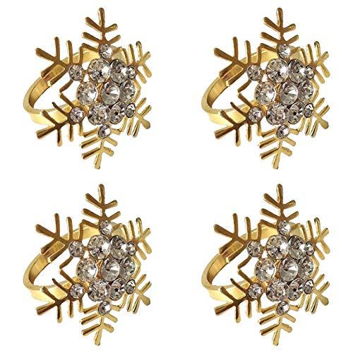 Weihnachten Serviettenring Set 4Pcs Schneeflocke Serviettenhalter Ringe Silber Gold Moderne Haushalts Serviettenringe Strass Exquisite Serviettenringe für Hochzeitsbankett Weihnachtsfeier Gold
