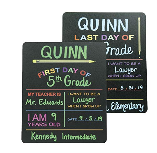 "Reusable My First Day and Last of School Set Milestone Chalkboard Sign. Photo Prop Board for Kids, Black w/color print - 12"" x 10"" rectangle"