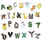 suoryisrty 26Piezas / Set Animal Alphabet Letter Parches Hierro Bordado en Parche Ropa Decoración