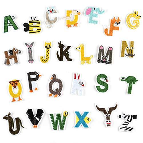 N/A. Juego de 26 parches creativos de letras inglesas con diseño de animales y letras bordadas, para coser o planchar en ropa, camiseta, vaqueros, decoración de chaqueta