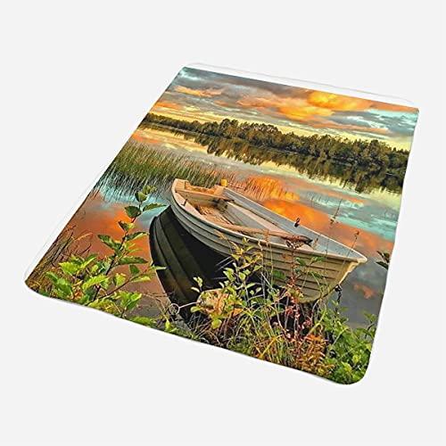 Manta mullida Sunset Lake Manta Manta de Forro Polar súper Suave como Manta de sofá, Colcha o Manta de salón 150 x 200 cm