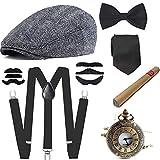 e ebeta set di accessori anni 1920s per costume da uomop, gatsby gangster costume kit con cappello panama, elastica bretella y-back, farfallino, sigaro, orologio da taschino vintage, baffi finti (f)