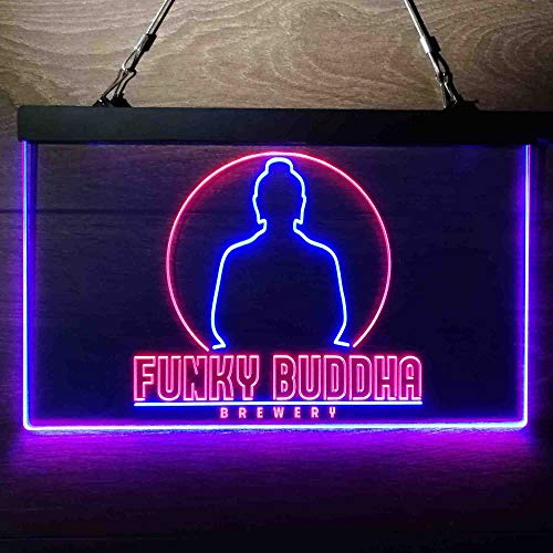 zusme Funky Buddha Brewery Colorful LED Neon Sign Man Cave Light Red & Blue W24 x H16